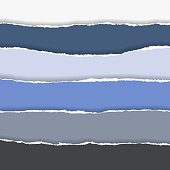 horizontally multicolored torn edges of paper with shadow, isolated vector on  background