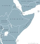 Horn of Africa countries political map