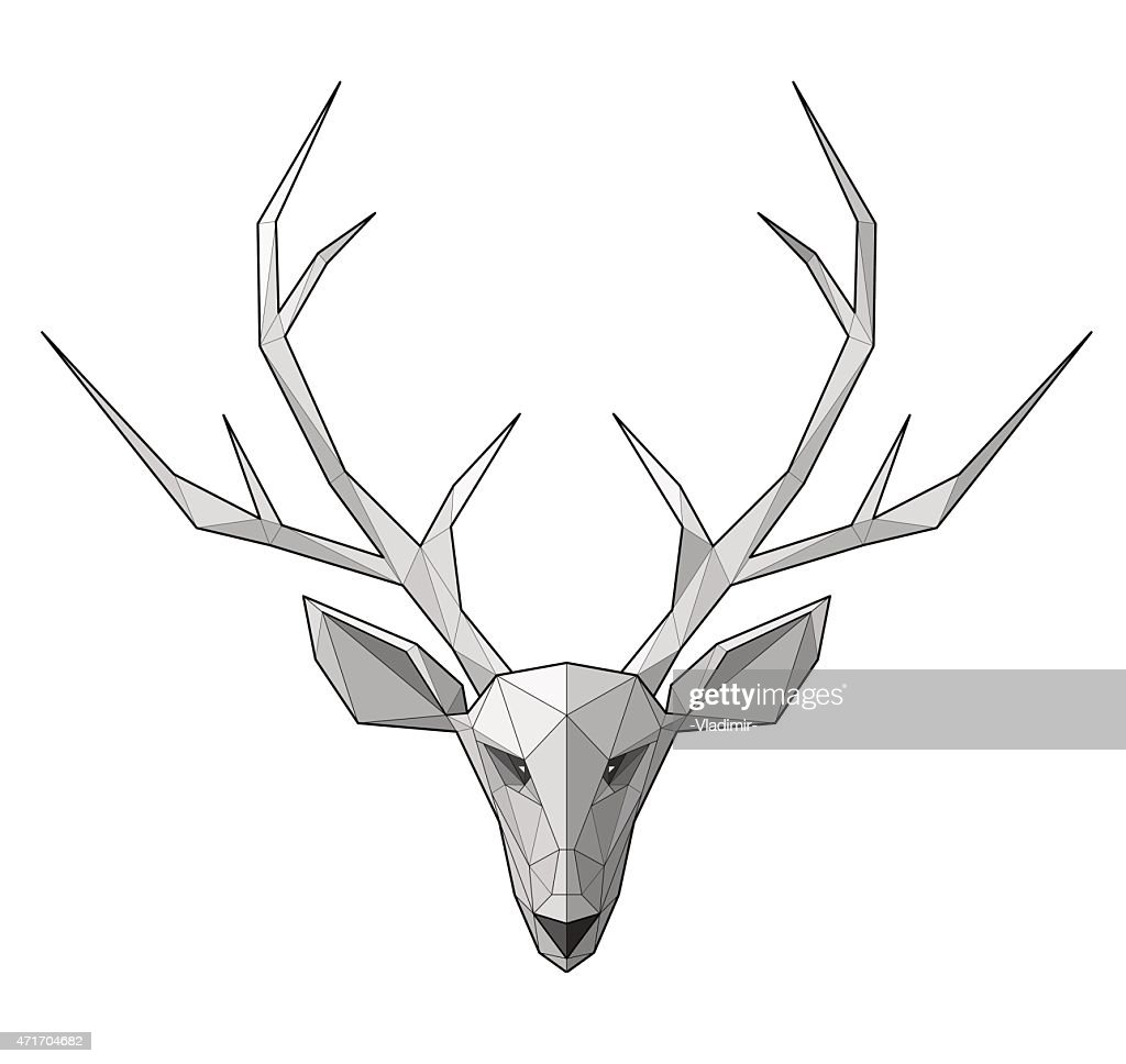Horned deer - vector illustration