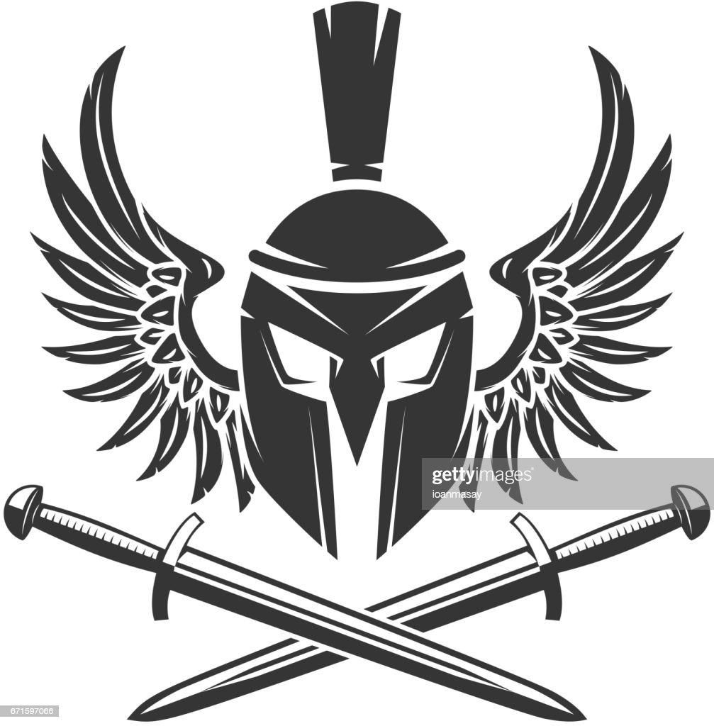 Horned helmet with crossed swords and wings isolated on white background. Vector illustration.
