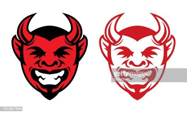 ilustraciones, imágenes clip art, dibujos animados e iconos de stock de icono de cabeza de diablo riendo con cuernos - los siete pecados capitales