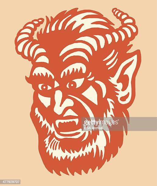 ilustrações de stock, clip art, desenhos animados e ícones de chifre monstro - lobisomem