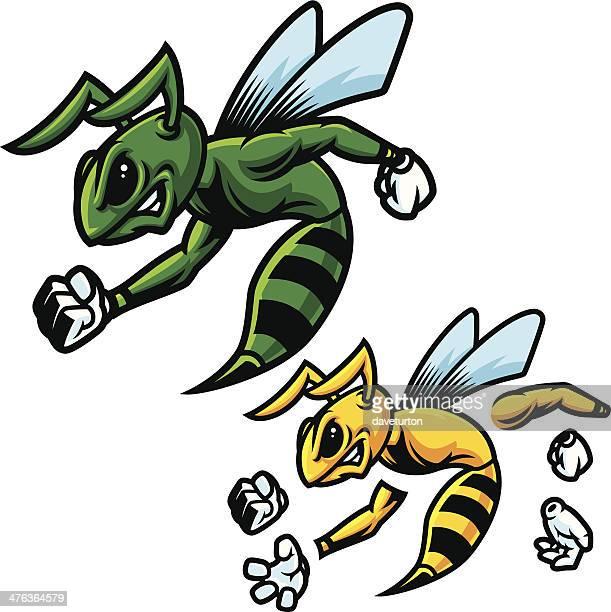 ilustrações, clipart, desenhos animados e ícones de green hornet mascote - fighting stance
