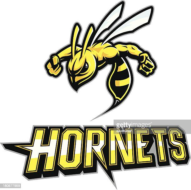 hornet mascot arms out - fighting stance stock illustrations, clip art, cartoons, & icons