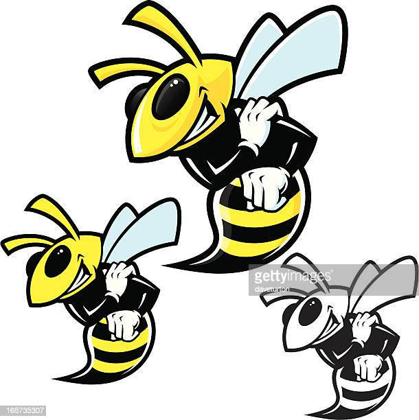 hornet traditional stance ii - wasp stock illustrations, clip art, cartoons, & icons