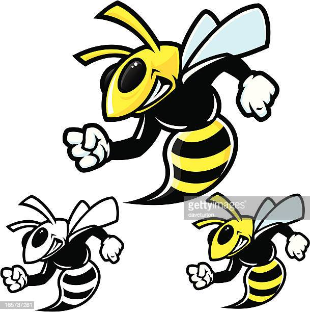 hornet traditional stance - wasp stock illustrations, clip art, cartoons, & icons