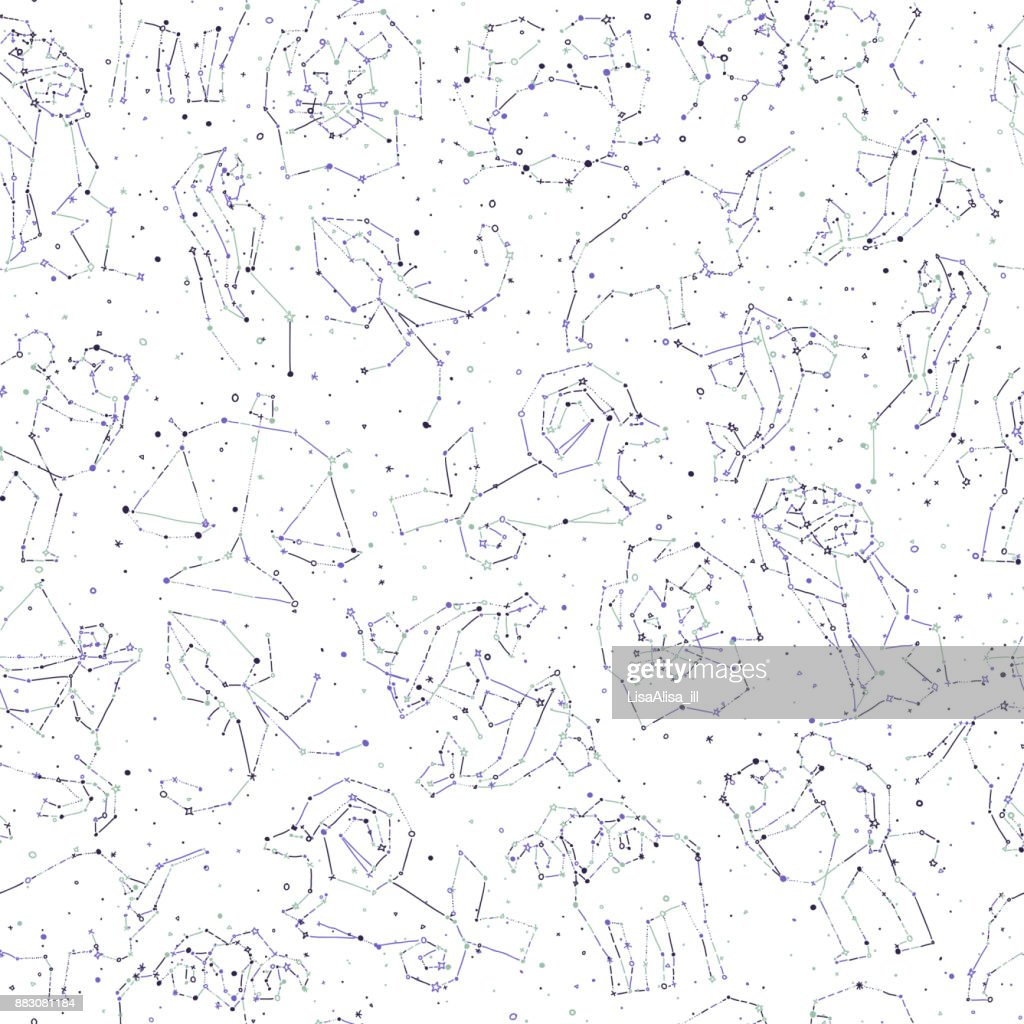 Horoscope hand draw seamless pattern all zodiac signs in horoscope hand draw seamless pattern all zodiac signs in constellation style with line and stars on endless background doodle background of starry zodiac biocorpaavc