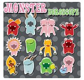Horoscope signs with cute colorful monsters
