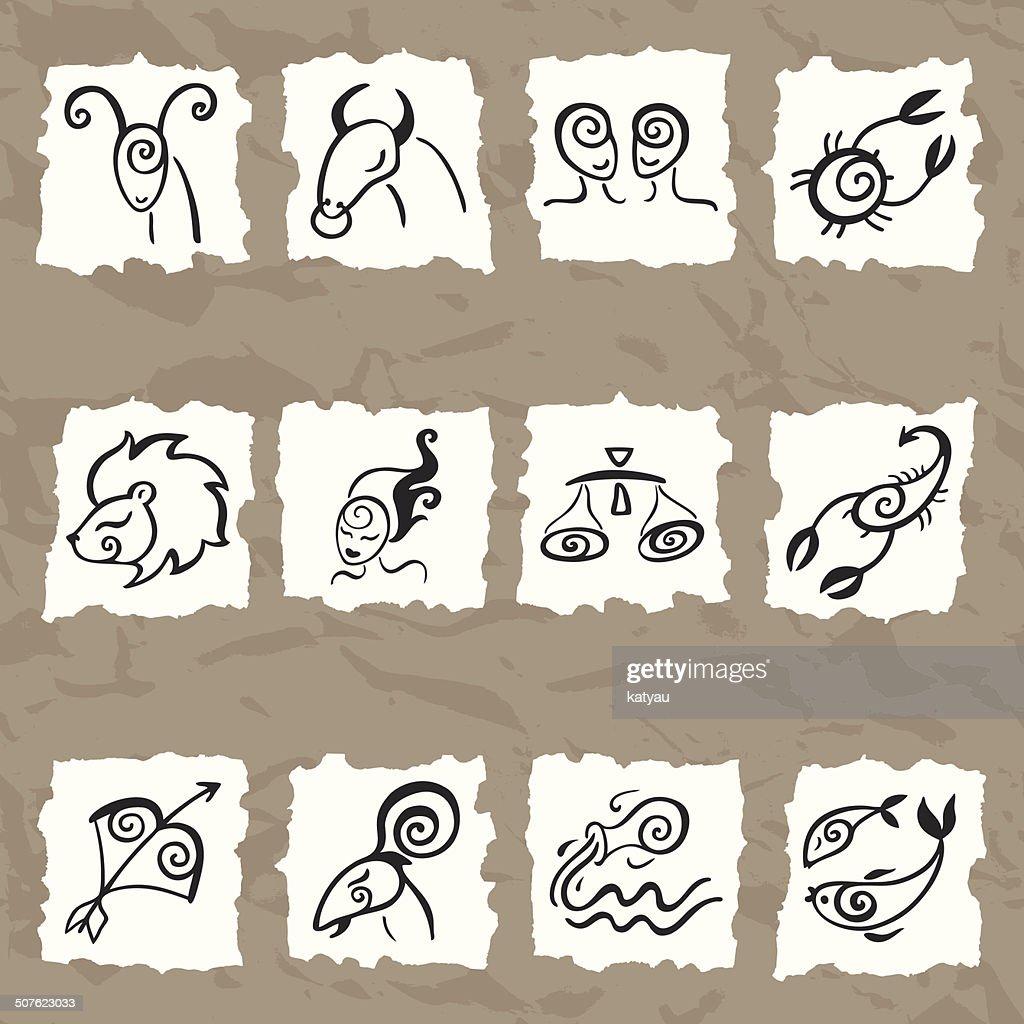 Horoscope. Zodiac set.