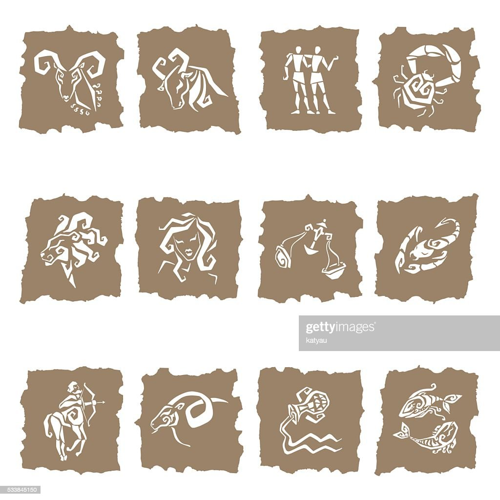 Horoscope Zodiac Star signs, vector set