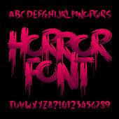 Horror alphabet font. Uppercase handwritten bloody letters and numbers.