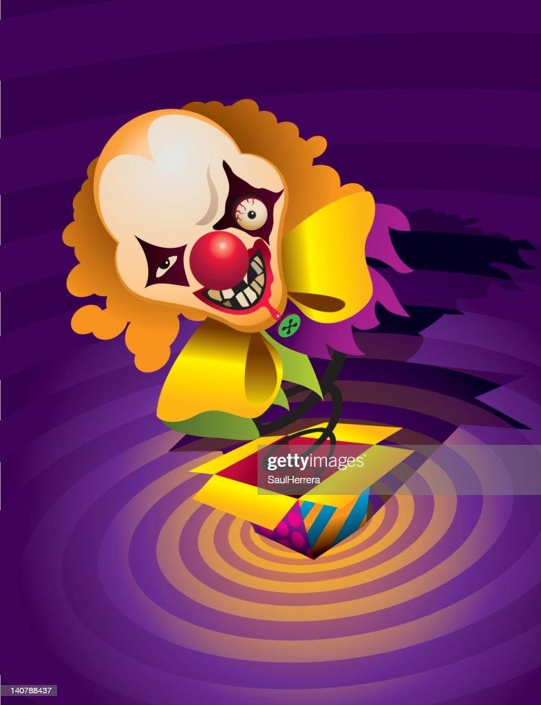 horror clown - surprises box : stock illustration