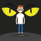 Horror conceptual illustration. Huge yellow eyes behind the character's back / flat editable vector illustration, clip art