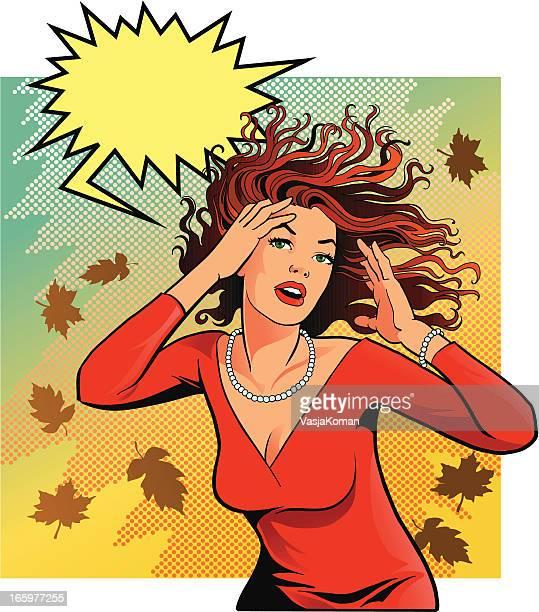 ilustraciones, imágenes clip art, dibujos animados e iconos de stock de horror cabello y vintage mujer - tirarse de los pelos
