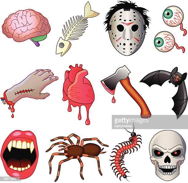 ilustrações de stock, clip art, desenhos animados e ícones de ícones de terror - centopeia