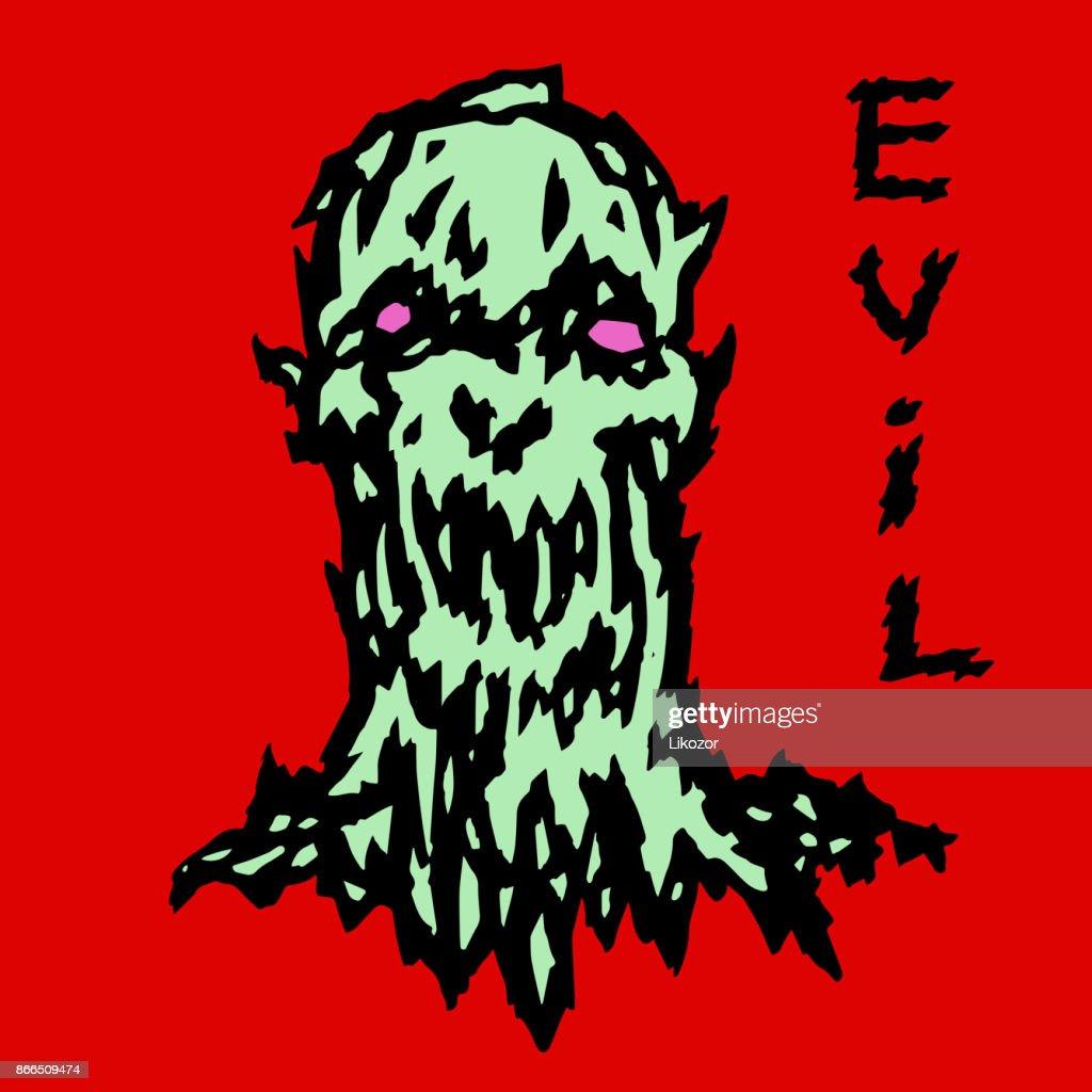 Horror monster head of the darkness. Vector illustration.