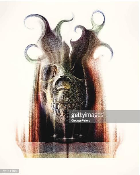 horror monster mask - sneering stock illustrations, clip art, cartoons, & icons