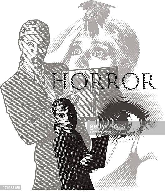 horror montage - gasping stock illustrations, clip art, cartoons, & icons