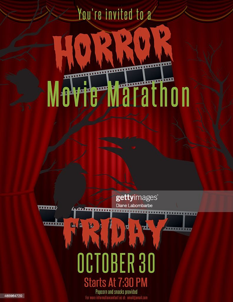 Horror Movie Marathon Party Invitation Template Vector Art Getty