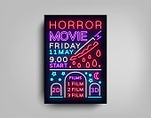 Horror movie postcard typography design neon template. Brochure in style neon, neon sign, colorful poster, banner light, night bright advertising on movies, cinema night session. Vector Illustrations