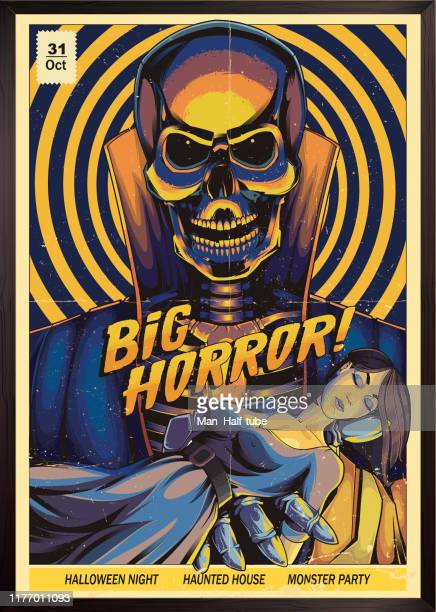 horror-poster. monster party - poster stock-grafiken, -clipart, -cartoons und -symbole
