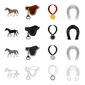A horse, a saddle for a rider, a reward in races, a horseshoe. Hippodrome and horse racing set collection icons in cartoon black monochrome outline style vector symbol stock illustration web.