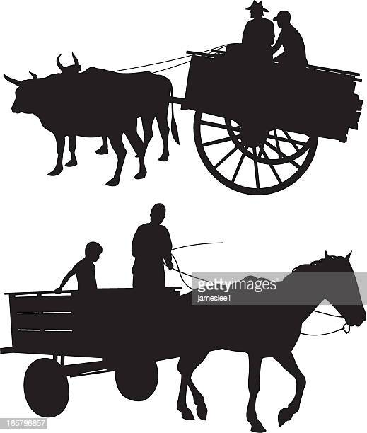 horse & ox with cart - wild cattle stock illustrations, clip art, cartoons, & icons