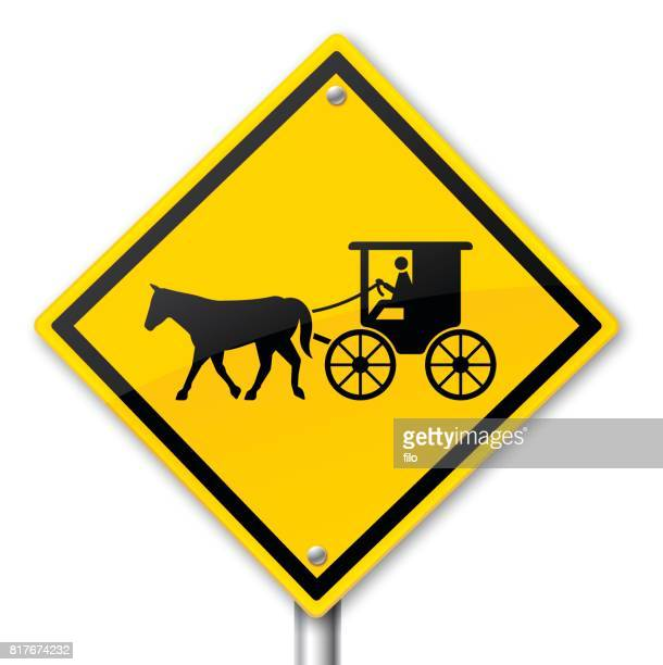 horse and buggy warning sign - carriage stock illustrations