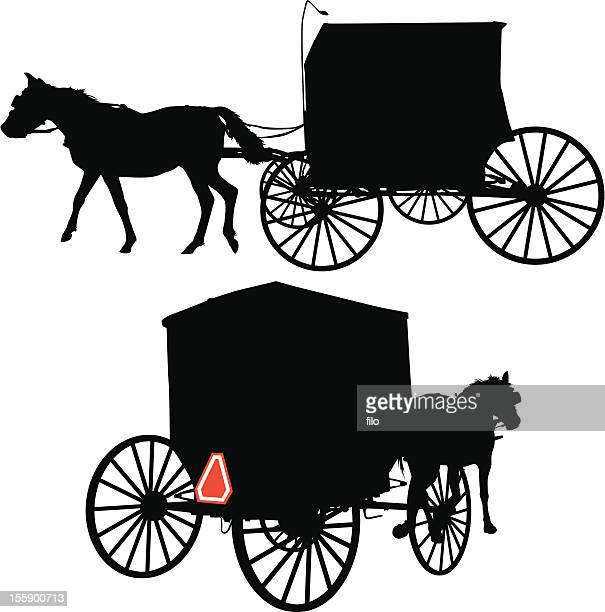 horse and carriage - carriage stock illustrations