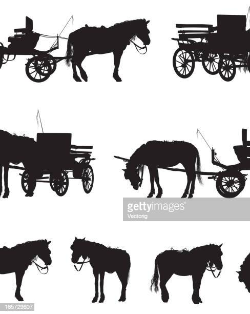 horse and carriage - horsedrawn stock illustrations, clip art, cartoons, & icons