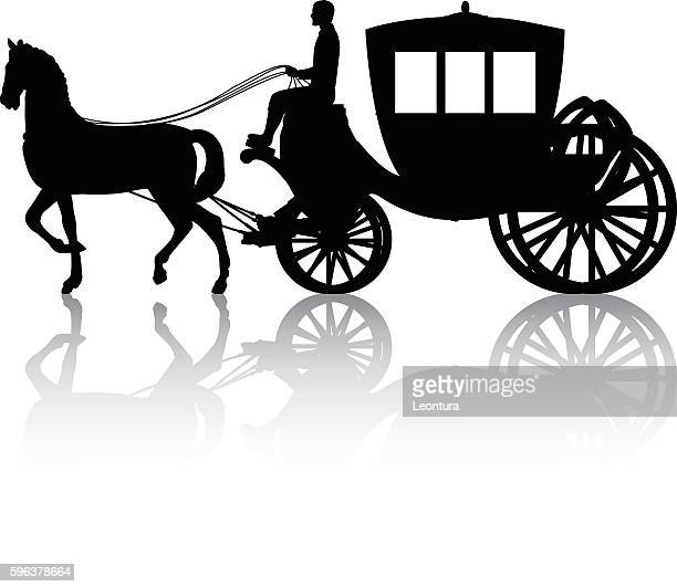 horse and cart - horsedrawn stock illustrations, clip art, cartoons, & icons
