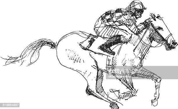 horse and jockey - horse stock illustrations
