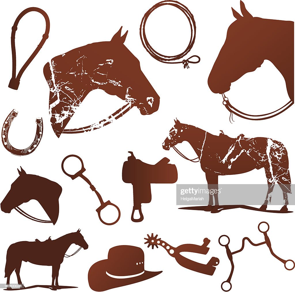 Horse And Western Riding Silhouettes Set