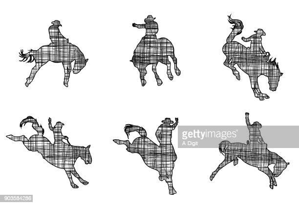 horse buck rodeo - stallion stock illustrations, clip art, cartoons, & icons