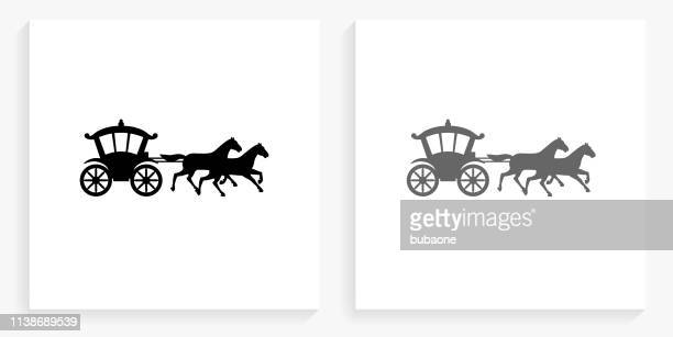 horse carriage black and white square icon - carriage stock illustrations