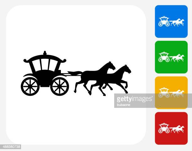 horse carriage icon flat graphic design - horsedrawn stock illustrations, clip art, cartoons, & icons