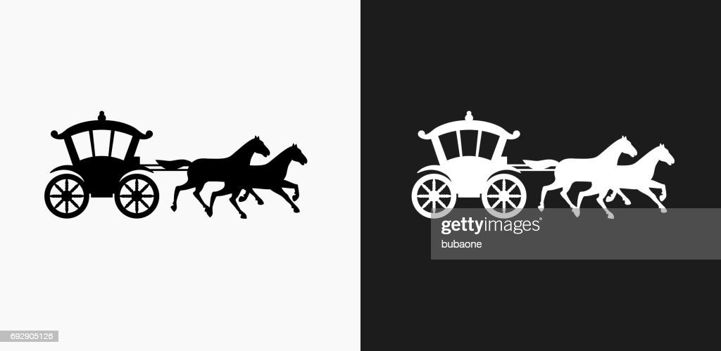 Horse Carriage Icon on Black and White Vector Backgrounds