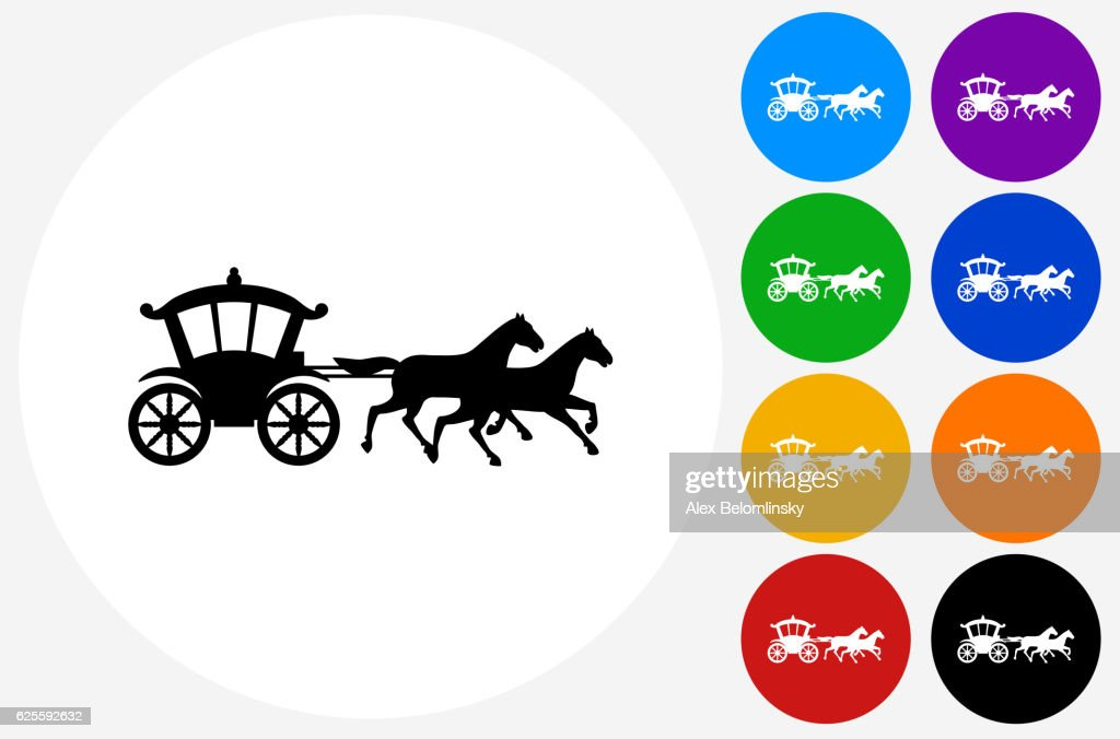 Horse Carriage Icon on Flat Color Circle Buttons