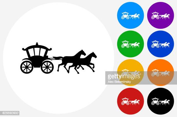 horse carriage icon on flat color circle buttons - horsedrawn stock illustrations, clip art, cartoons, & icons