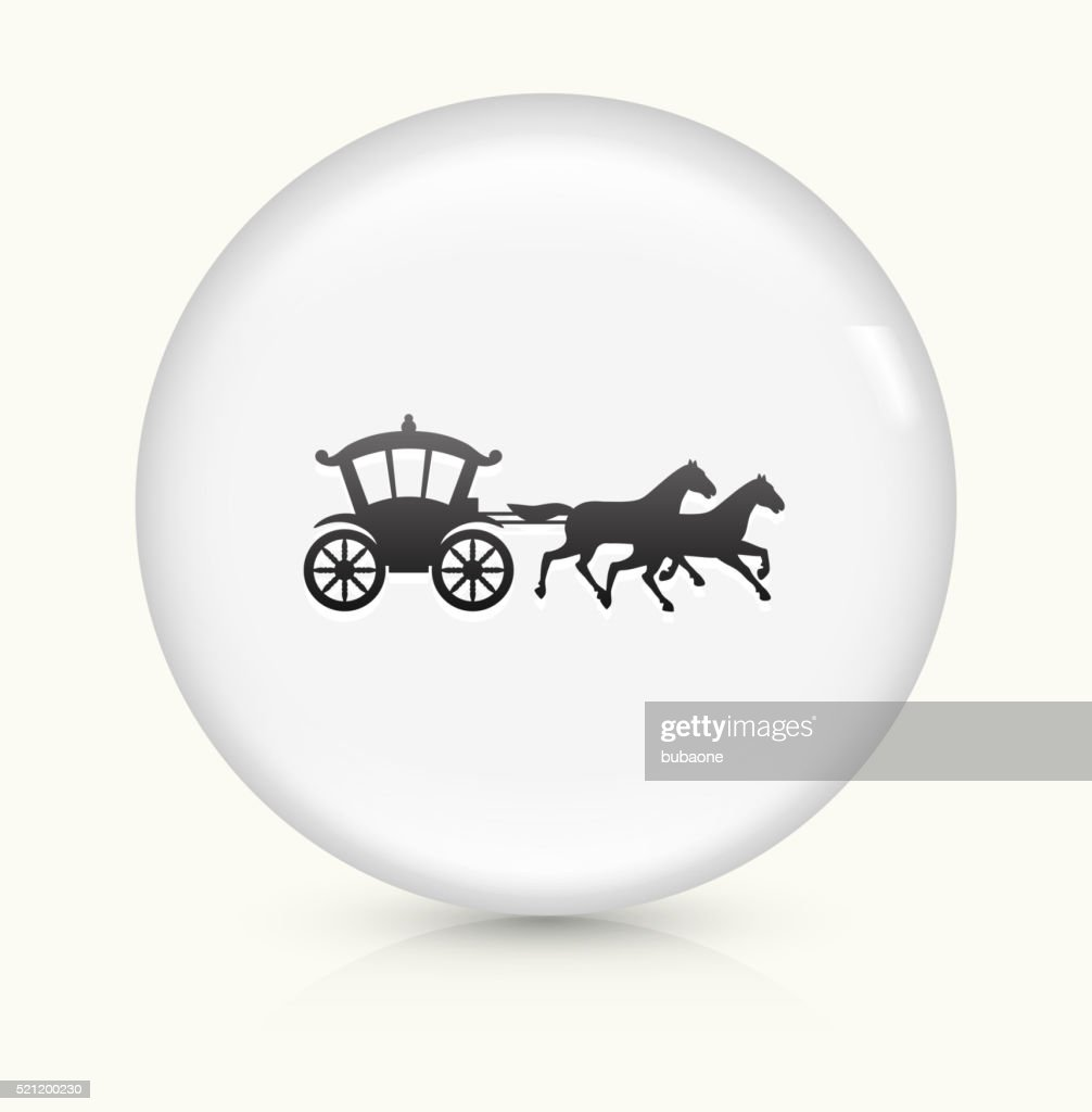 Horse Carriage icon on white round vector button