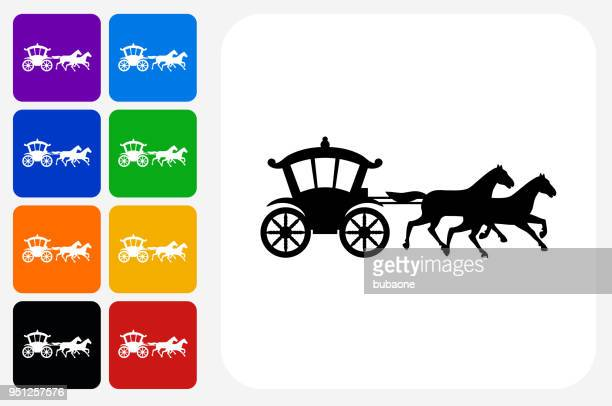 horse carriage icon square button set - carriage stock illustrations