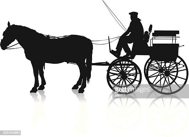 horse carriage - horsedrawn stock illustrations, clip art, cartoons, & icons