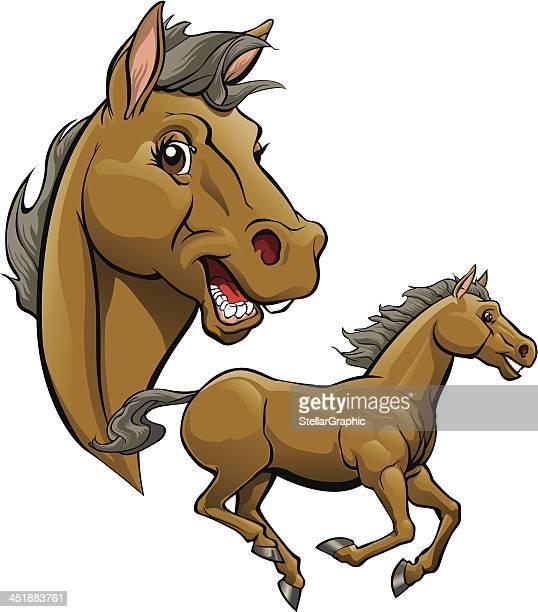 horse cartoon - mare stock illustrations, clip art, cartoons, & icons