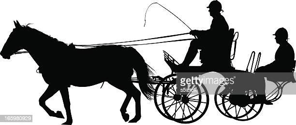 horse chariot - horsedrawn stock illustrations, clip art, cartoons, & icons