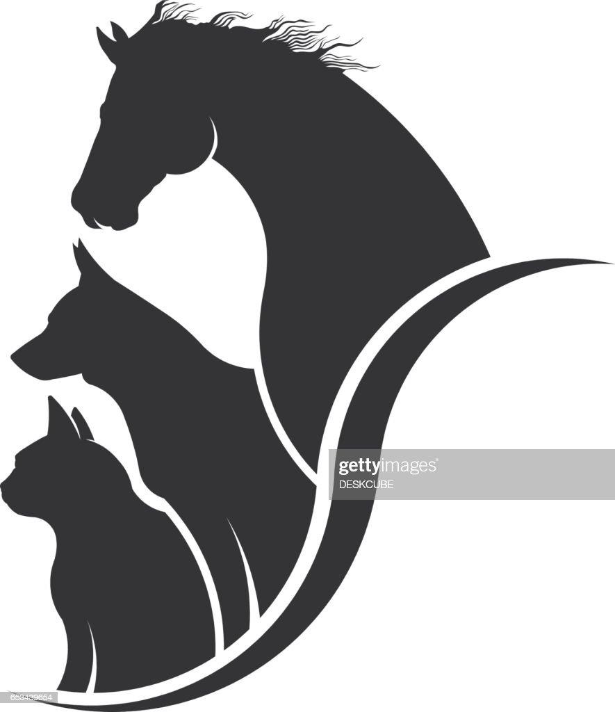 Horse, Dog, Cat Animal Lover Illustration