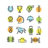 Horse equipment icon set color thin line