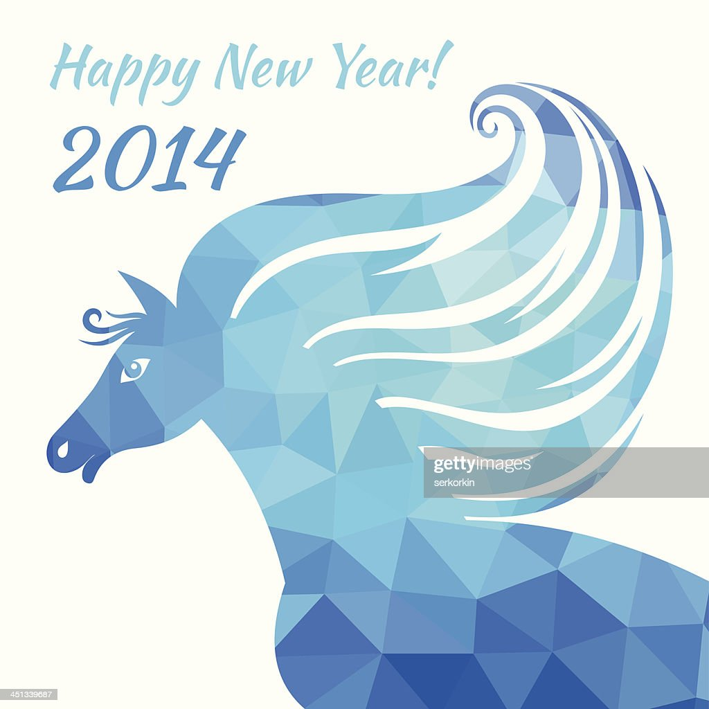 horse happy new year abstract illustration of geometric shapes vector art