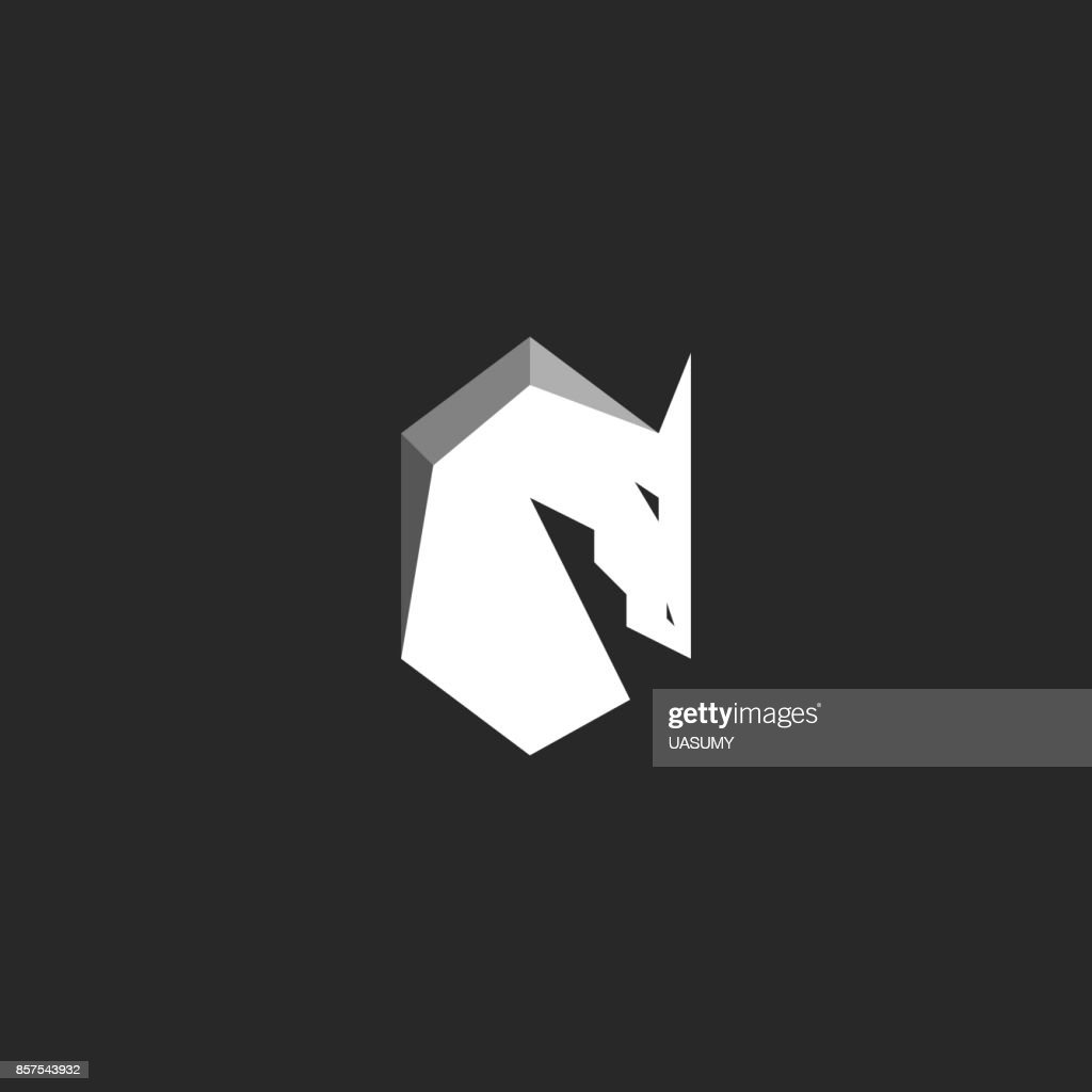 Horse Head, abstract figure of a stallion with a mane, silhouette of a mustang black and white graphic illustration