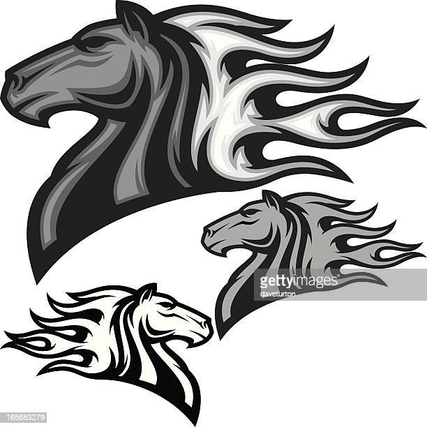 horse head flamed b&w - stallion stock illustrations, clip art, cartoons, & icons