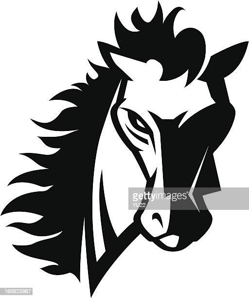 Horse head mascot B&W
